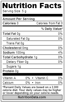 sriracha nutrition label