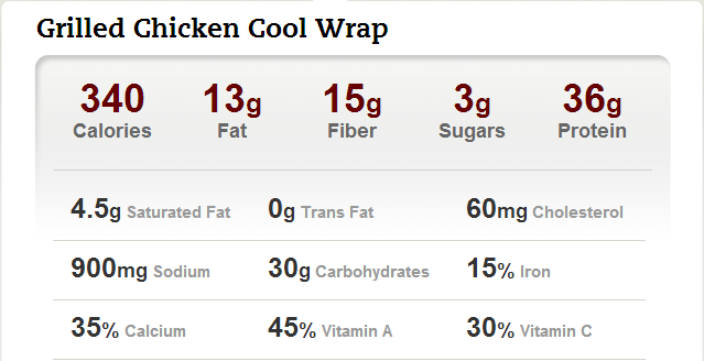 Grilled-Chicken-Cool-Wrap-Nutrional-Information